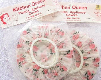 All Hail the Kitchen Queen...Vintage Floral Bowl Covers...New in Package