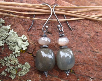 Umba Sapphire Earrings and Diamond Finish Moonstone accents - Sterling Silver