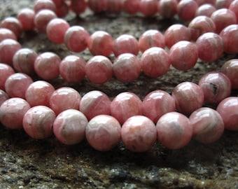 Rhodochrosite Beads 7mm rounds semiprecious gemstones 10 beads