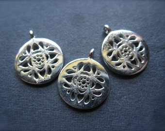 Flourish Charms, findings, solid silver - pair 12mm bright polished