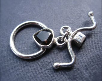 Toggle Clasp with Smoky Quartz - Solid Sterling Silver - genuine stone