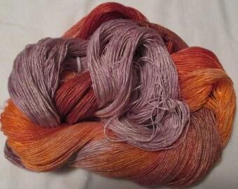 Hand dyed Tencel Yarn - 6/2 Tencel Lace Wt. Yarn  CARROT CAKE - 630 yards