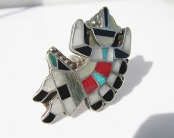 Vintage Native American - Zuni - Sterling Silver and Multi Stone Inlay Kachina Dancer Figure Ring - Size 5.5     1150 -A