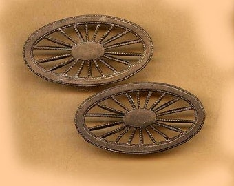 vintage brass oval spoke shapes from FRANCE connectors TWO brass ornate findings antique brass