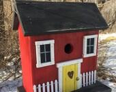 Wooden Primitive Red Salt Box Birdhouse , Folk Art Bird House, Rustic Country Birdhouse Outdoor Birdhouse   Functional Birdhouse