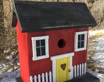 Primitive Red Salt Box Birdhouse Folk Art Rustic Country