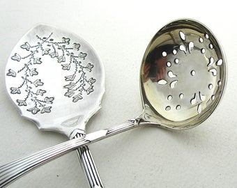 Victorian Sugar Sifter and Matching Jam Spoon, Antique Silverware Set, Vintage Teatime, James Deakin Cutlery, Sheffield Silver Plated Spoons