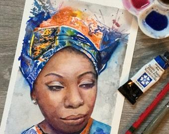 PRINT of my Original watercolour painting of Nina Simone