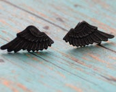 RESERVED LISTING Black Wing Studs, Angel Wings Studs, Steampunk Wing Earrings, Winged Jewelry, Unisex Earrings, 14k gold Stud Earrings