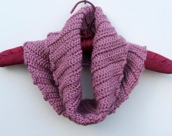 Hand Crocheted , Handmade, Infinity scarf / neck warmer, Plum Wine