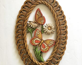 Plastic Molded Wall Decor Three Dimensional Plaque Faux Wicker 1970's Flower Power Butterfly
