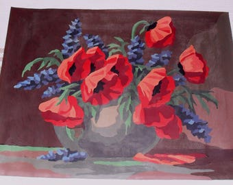 Vintage Paint by Number Painting Poppies on Canvas