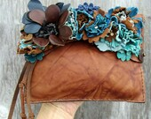 Leather Flower Clutch by Stacy Leigh in Brown