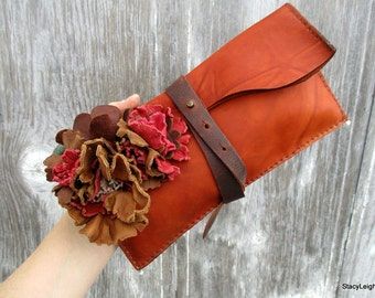 SALE Leather Flower Clutch by Stacy Leigh in Terracotta