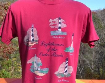 vintage 80s t-shirt LIGHTHOUSES north carolina beach outer banks tee Large Medium resort pink 90s obx