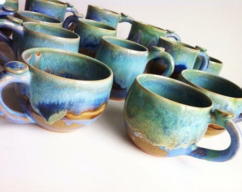Reserved - Two Rustic Green Stoneware Mugs - MADE TO ORDER