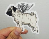 Flying Pug Die Cut Vinyl Sticker