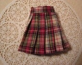 Blythe Red/Green Plaid Pleated Skirt for Pullip and Vintage Skipper Too!