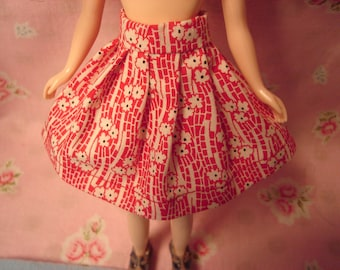 Blythe Red Cotton Print Skirt for Pullip and Vintage Skipper Too!