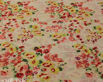 Cotton Lawn Floral Print - 1 yard - Cotton Fabric / Fabric by Yard / New Fabric / Sewing Supplies / Lawn / Lawn by Yard