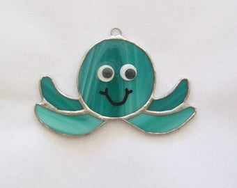 Baby octopus ornament stained glass suncatcher smiling sweet aqua octy