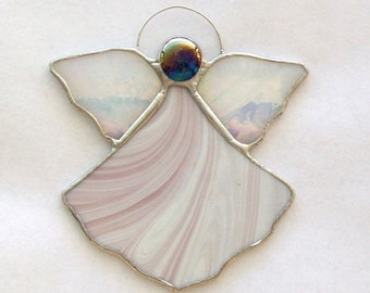 Guardian angel little angel stained glass lavender and white glass angel ornament