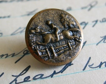 Victorian Pictorial Button Horse and Rider Jumping Fence