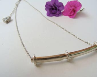 Sterling Silver Handcrfted Bar Necklace