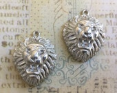 Cast Lion Pendant lead free pewter pendant made in USA set of 2