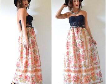 SUMMER SALE/ 30% off Vintage 60s 70s Lady of the Canyon High Waisted A Line Floral Organza Maxi Skirt (size medium, large)