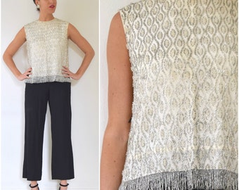 SUMMER SALE / 20% off Vintage 60s Heavily Beaded Ivory and Silver Glass Seed Bead Fringe Blouse (size medium, large)