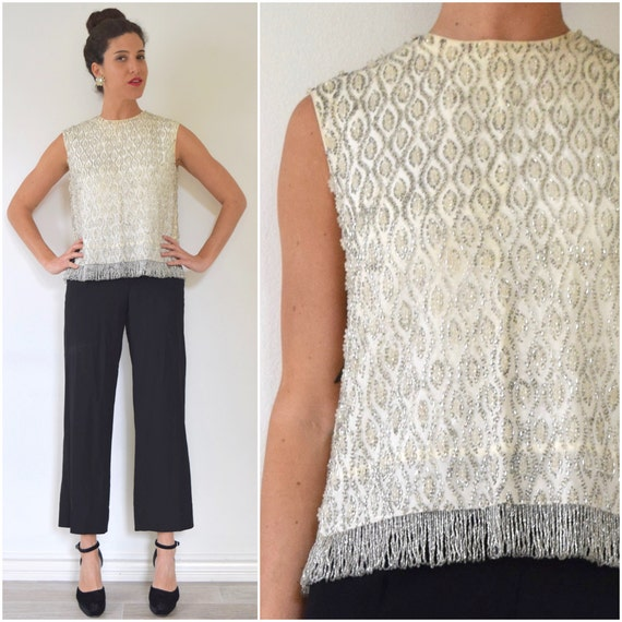 Vintage 60s Heavily Beaded Ivory and Silver Glass Seed Bead Fringe Blouse (size medium, large)