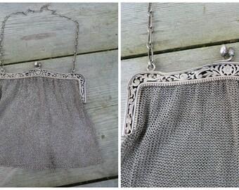 Vintage Antique French 1900/1920 lady's mesh purse sterling silver floral open work opener Evening handbag 234 gr