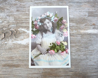 Vintage Antique old French 1900 real photography postcard /  child/  girl with roses