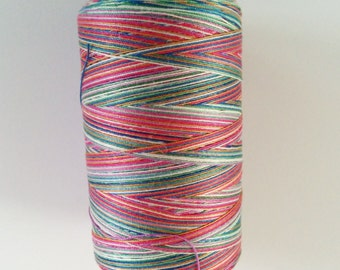 one 1080 yard spool Valdani variegated 35 wt cotton thread in Gem Symphony colorway