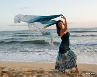 Handdyed blue turquoise gray ice dyed dress or skirt M/L