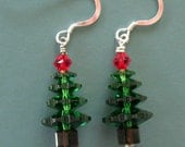 Emerald Green Swarovski Crystal Christmas Tree Earrings Sterling Silver Ear Wires Holiday Jewelry