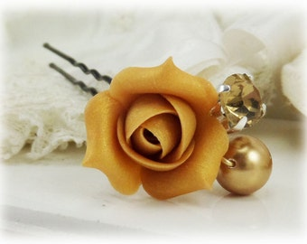 Gold Rose Bud Crystal Pearl Hair Pin - Gold Rosebud Bridal Hair Accessories