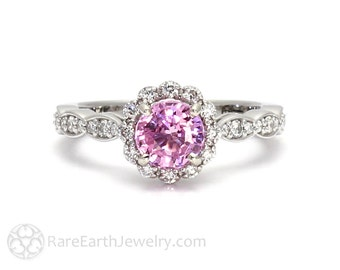 Pink Sapphire Engagement Ring with Diamond Halo Custom Sapphire Ring 14K or 18K Gold or Platinum