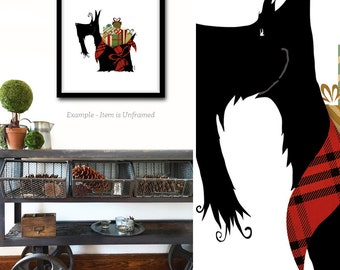 Scottie christmas GIFTS scottish terrier dog holiday festive art illustration signed print by stephen fowler
