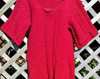 Handknit Merino Wool Dress, Long Tunic, Valentine Be Mine, super soft to the touch,  sz 12 14
