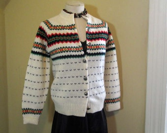 Vintage Fair Isle Sweater 70s White Wool Cardigan Rainbow nordic Patterns silvertone Metal buttons Made in USA Nordic sweater S