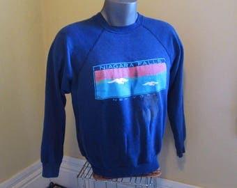 Vintage Niagara Sweatshirt Distressed 80s Blue Sweatshirt New York Sunrise Seagulls bleach spots & holes 80s Tultex pullover sweatshirt L