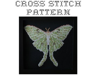 Luna Moth - .pdf Original Cross Stitch Pattern - Instant Download