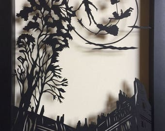 Sale 20% Off // PETER PAN and the MOON Papercut in Shadow Box - Hand-Cut Silhouette, Framed // Coupon Code SALE20