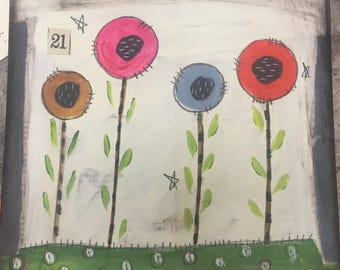 Poppy Fields 21- original mixed media - WALL HANGING