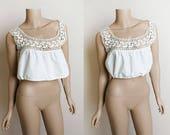 Vintage Edwardian Camisole Blouse - White Crochet Knit Neckline Boho Blouse - Crop Festival Style - Antique Cotton - Small XS