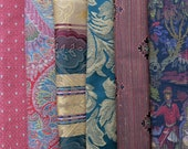 Jewel Tone Fabric Pack, Collection...DESTASH SALE, Closeout Clearance...6 home designer samplers, remnants, scraps...F17124