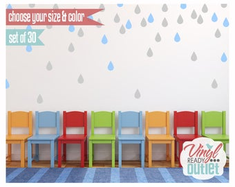 Rain drops Vinyl Wall Decals - Set of 30 - Pick your Size & Color!