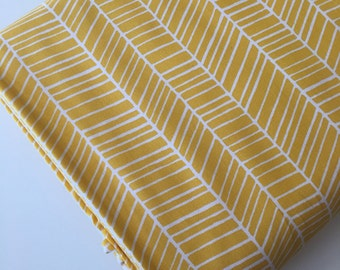 Herringbone fabric, Modern Baby Quilt fabric, Woodland Nursery fabric, Woodland Blanket fabric, Yellow fabric, Quilting,  Choose Your Cut